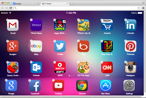 iOS 7 New tab page Chrome