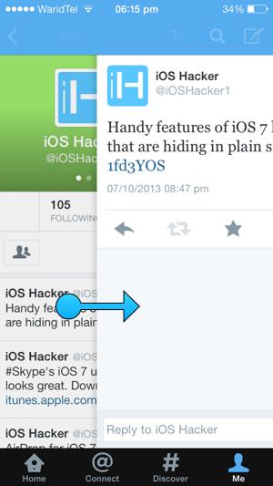 twitter gestures iOS 7