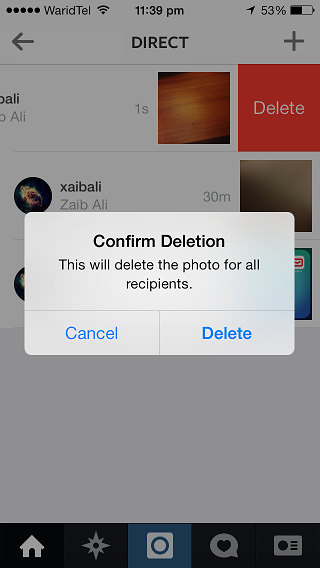 instagram direct delete