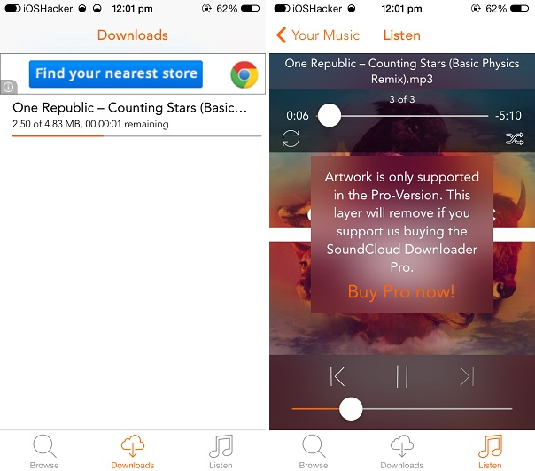 SoundCloud Downloader Pro app lets you download songs for offline