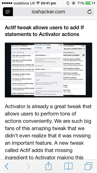 Reader mode iOS 7