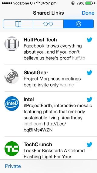 Shared links Safari