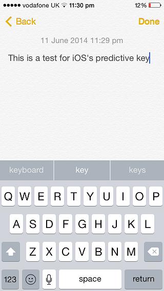 iOS 8 predictive keyboard
