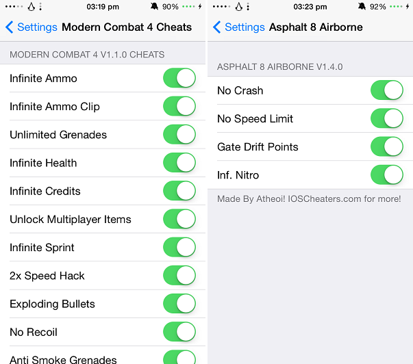 Tweaks bring cheat codes for Modern Combat 4 and Asphalt 8 Airborne