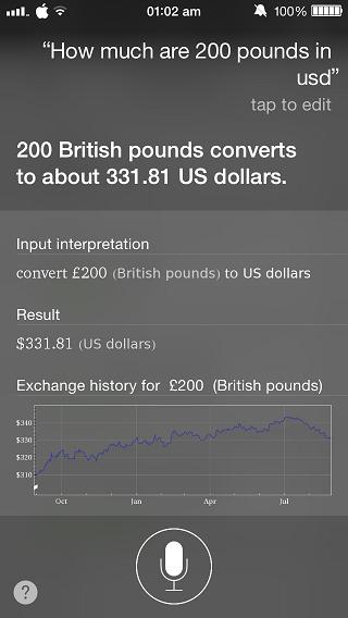 Siri Currency conversion