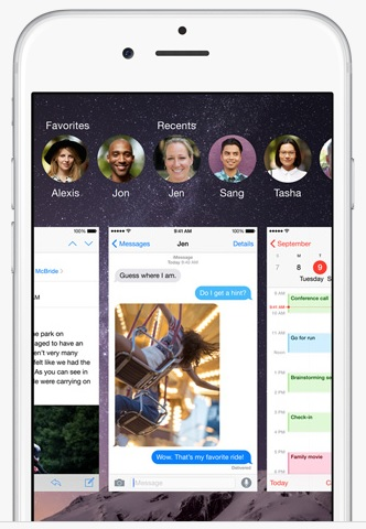 iOS 8 recent contacts