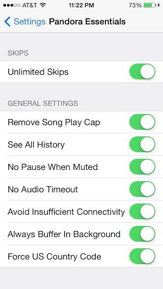Pandora Essentials tweak