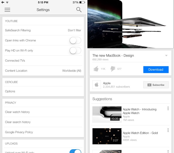 Cercube is the ultimate Youtube download tweak for iPhone and iPad