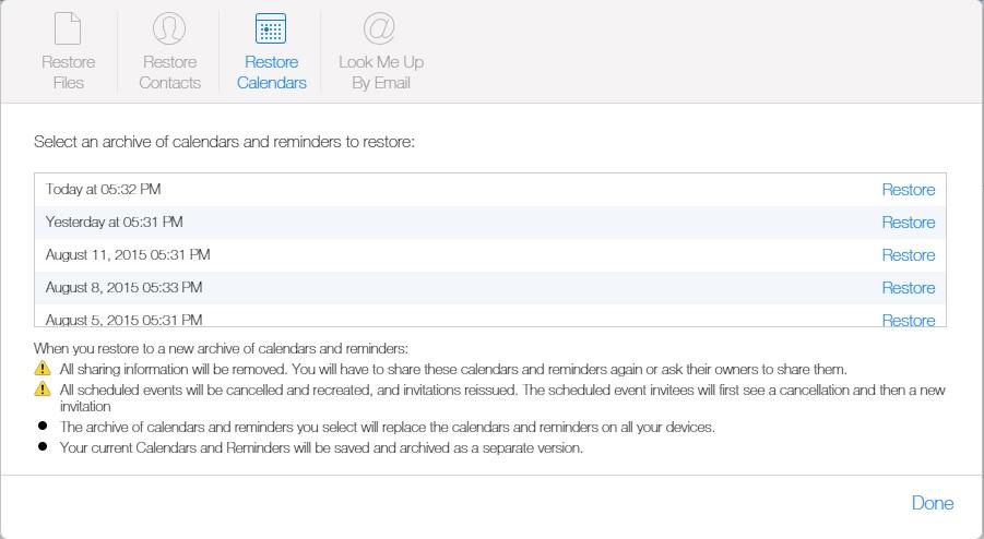 Restore Calendars iCloud