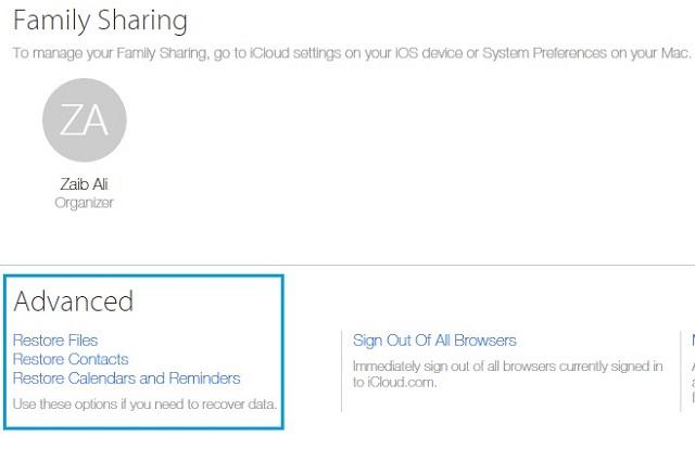 iCloud Restore Advanced main