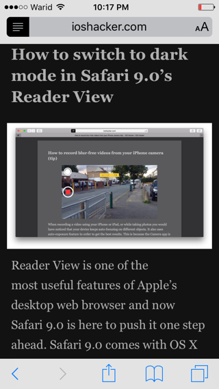 How to enable night mode for Safari's Reader View in iOS 9 - iOS Hacker