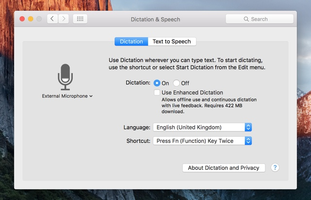 Dictation and speech mac
