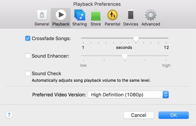 Crossfade iTunes1