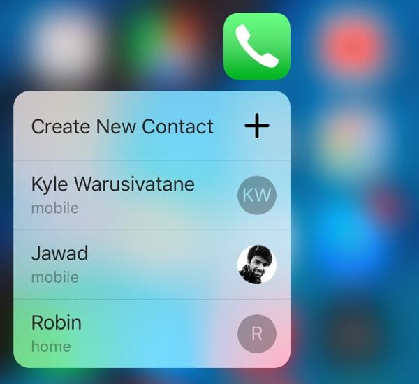 Phone 3D Touch menu