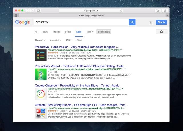Google App Search iOS