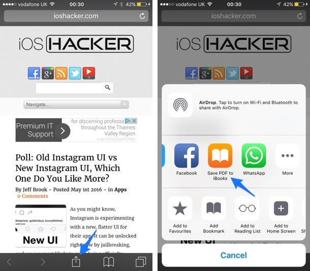 Webpage as PDF Safari iOS