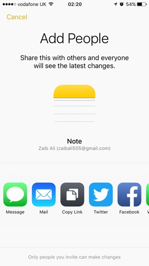 iCloud notes collaboration