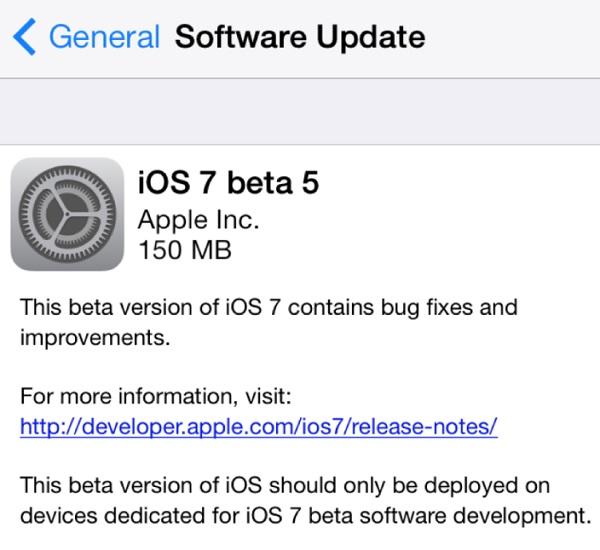 iOS 7 beta 5 main