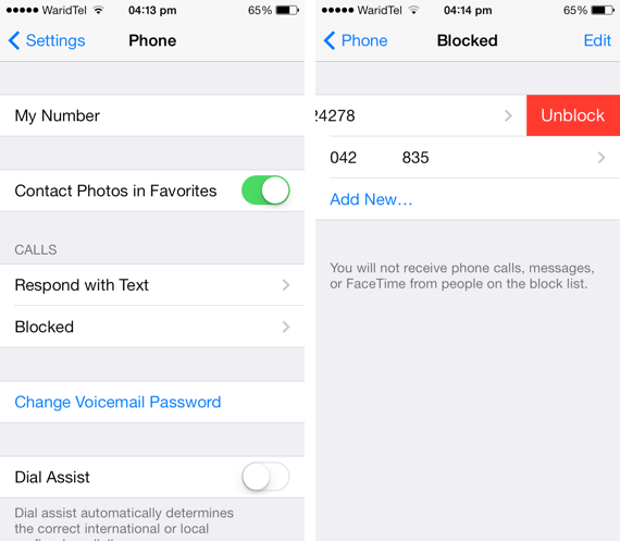 unblock numbers iOS 7