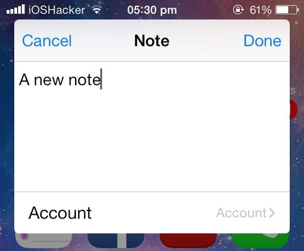Make new notes from anywhere with NoteCreator tweak from Cydia