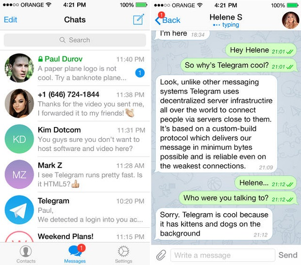 Telegram messenger iPhone