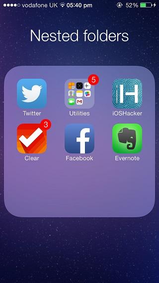 nested folders iOS 7.1