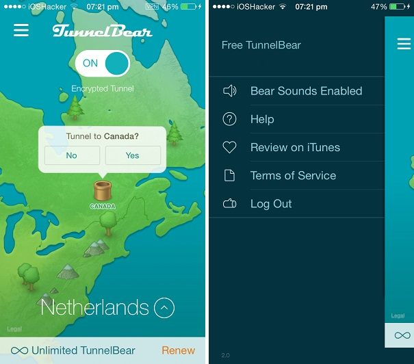 TunnelBear VPN for iOS makes access to blocked websites or