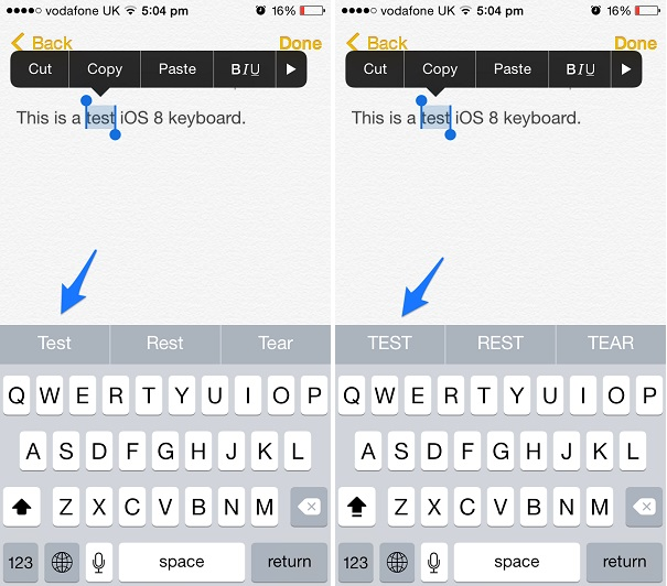 iOS 8 keyboard predictive