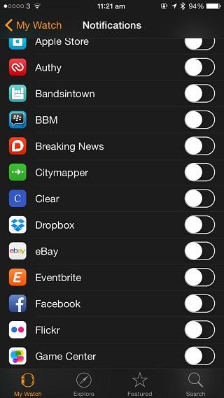 My Watch app notifications