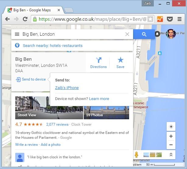 Google Maps send to device iOS