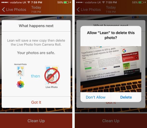 Lean - Clean up your live photos app copy