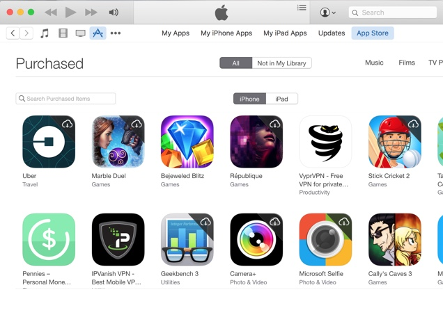 Purchased apps iOS