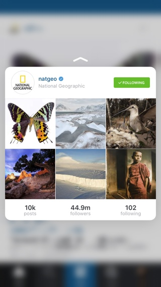 Timeline 3D touch Instagram