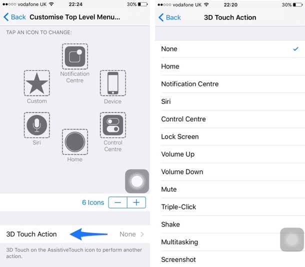 3D Touch Action AssistiveTouch