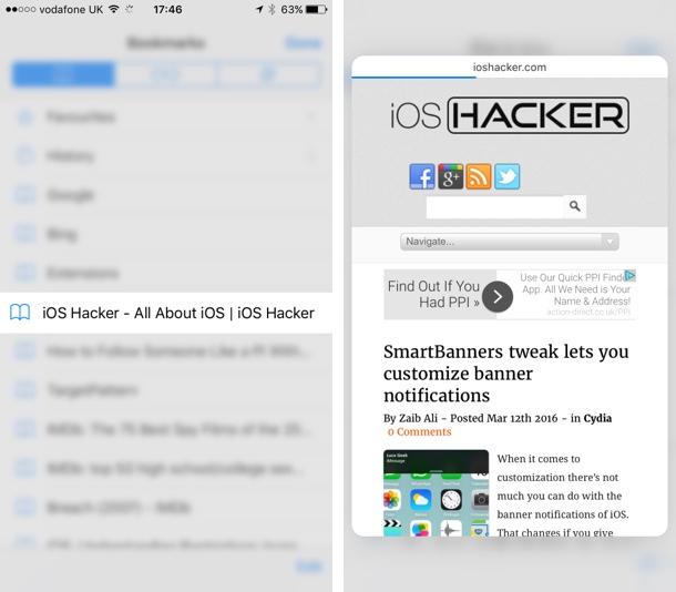 Safari bookmarks preview
