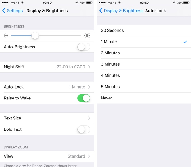 Change iPhone screen off time