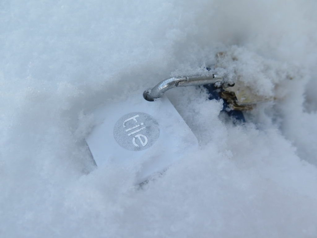 The Tile Mate and Slim have a water-resistance rating of IP5, which makes it fine for when it falls into the snow or gets caught in the rain.