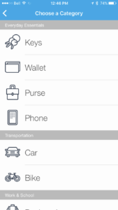 You can select what category the item you want to track is.
