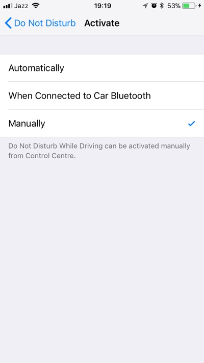 how to turn off do not disturb while driving on iphone