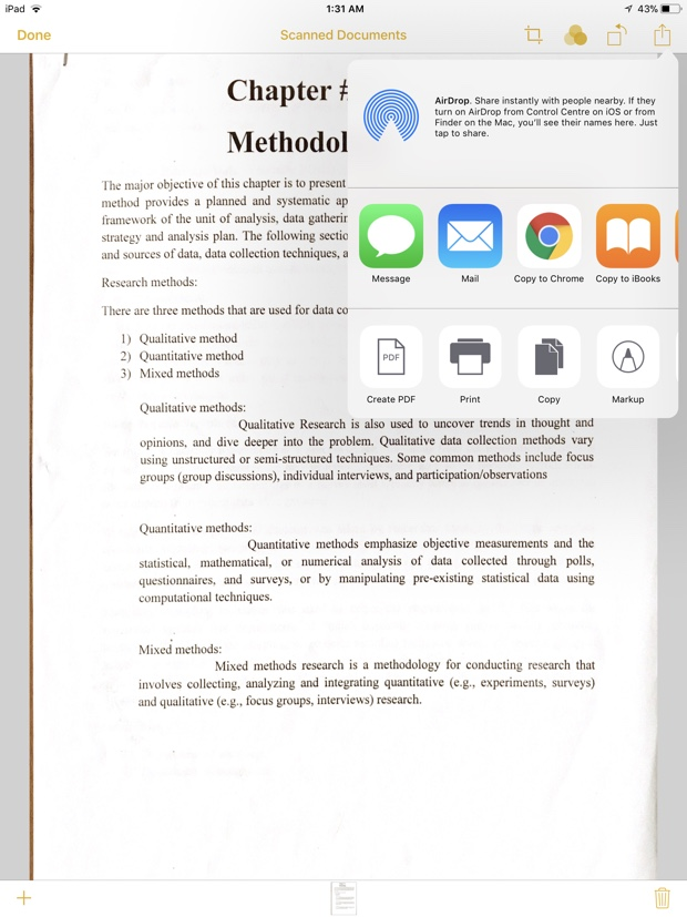 Scan document with iPad