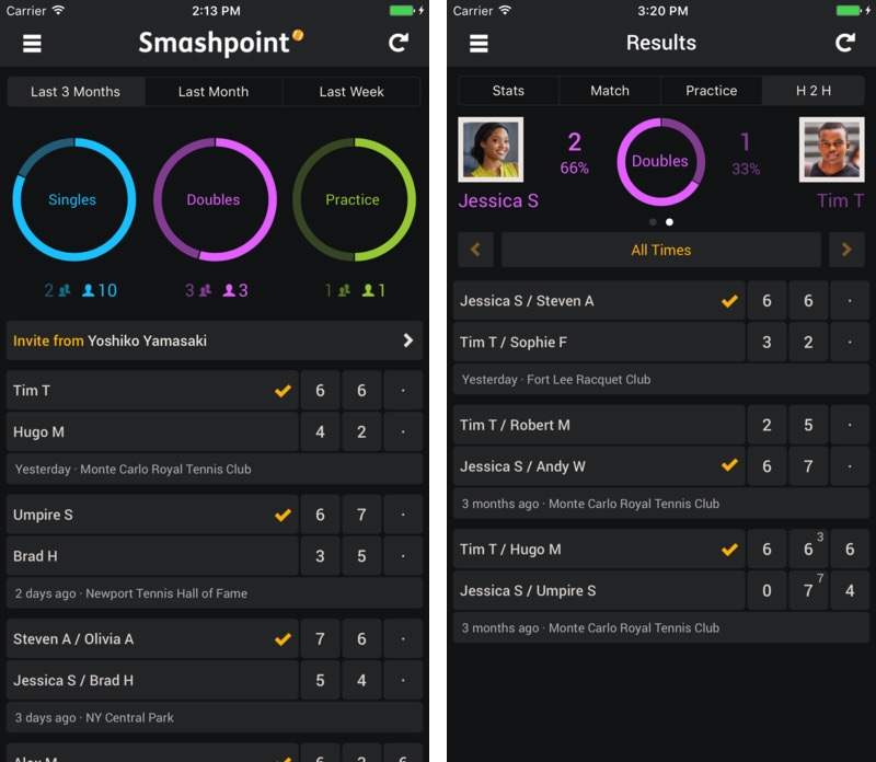Smashpoint Tennis Tracker for iPhone and Apple Watch