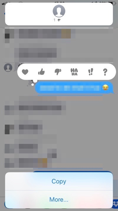 Who reacted to iMessage with tapback