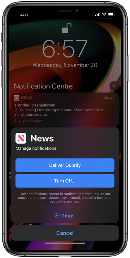 Deliver Quietly notifications iPhone