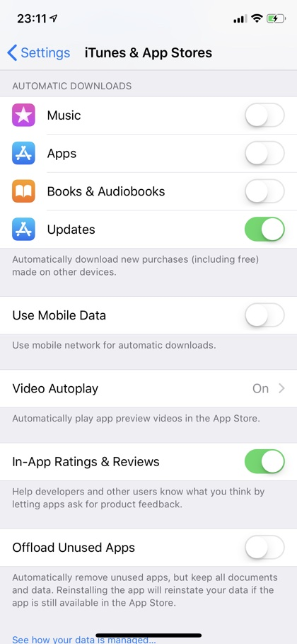 Enable Automatic App Updates iPhone