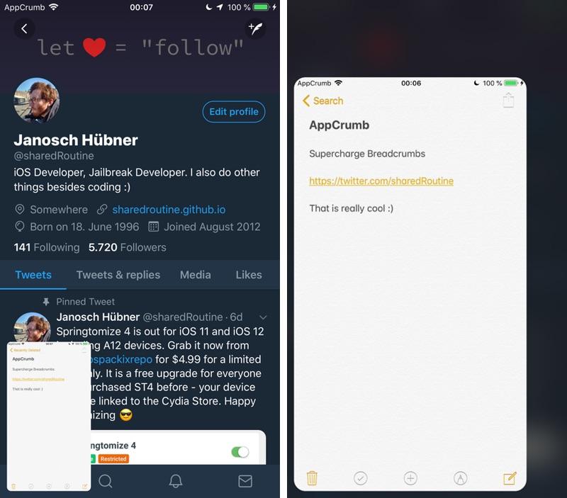 AppCrumb Tweak Replaces Breadcrumb Button With Floating App