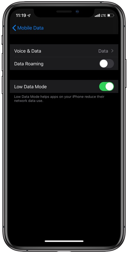 iOS 13 Low Data Mode