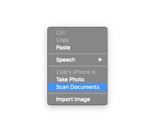 Scan documents on Mac with iPhone
