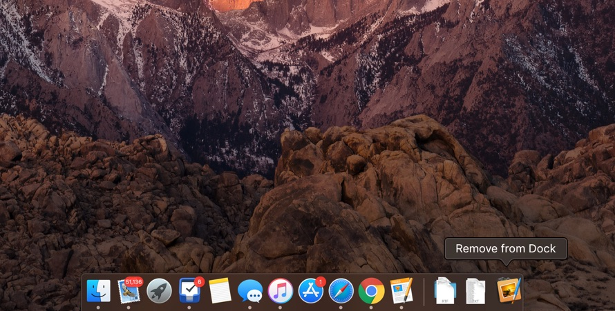 Remove apps from Mac dock