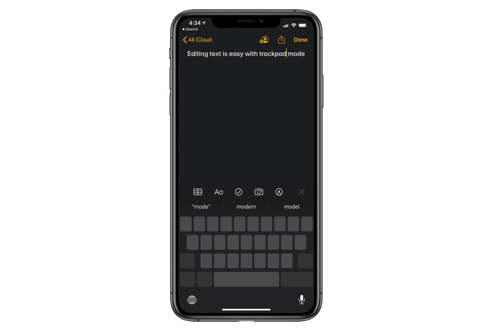 Move typing cursor iPhone 11