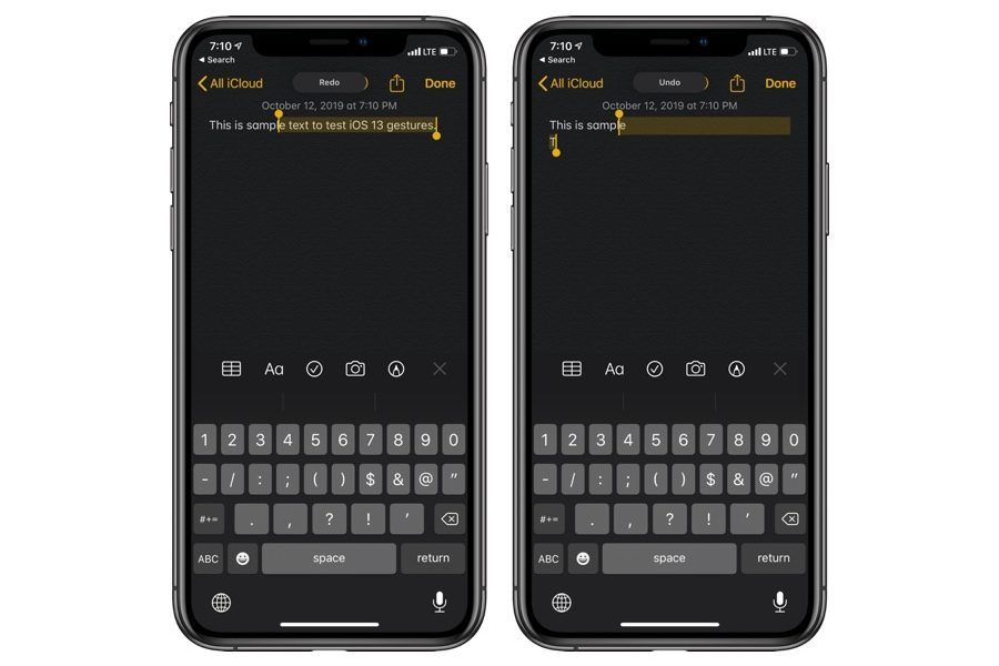 Undo Redo gesture iOS 13